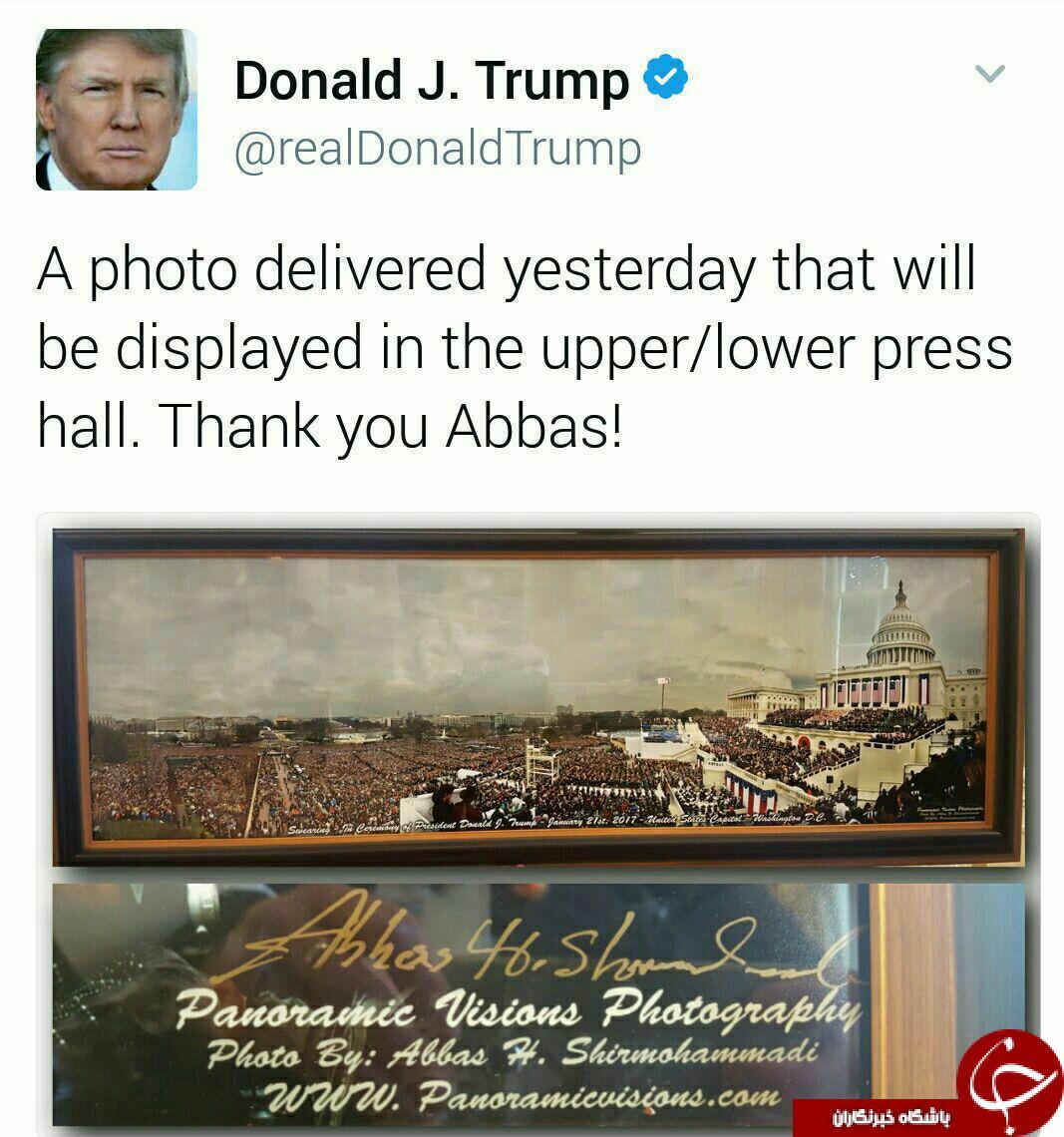 بازیچه شدنتوسط عکاس ایرانی ،ترامپ را مجبور به حذف توئت کرد! + تصویر