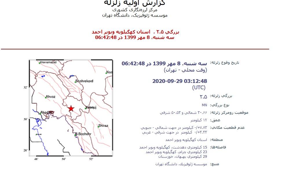 دو زلزله پی در پی در دهدشت و چرام